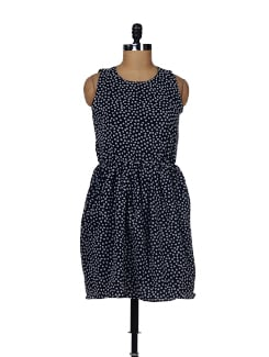 Navy Blue Polka Dress - Besiva