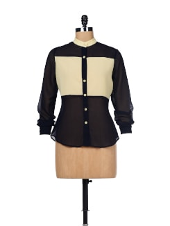 Black & Cream Colorblocked Shirt - Besiva