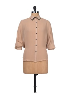 Light Brown Sheer Shirt - Besiva