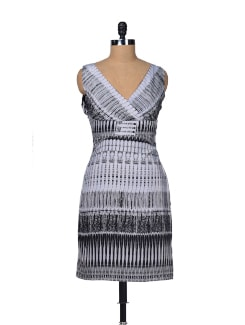 Black & Grey Printed Dress - Besiva