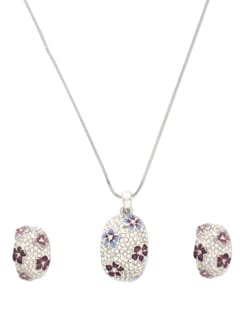 Silver Oval Pendant Necklace With Earrings - TRING