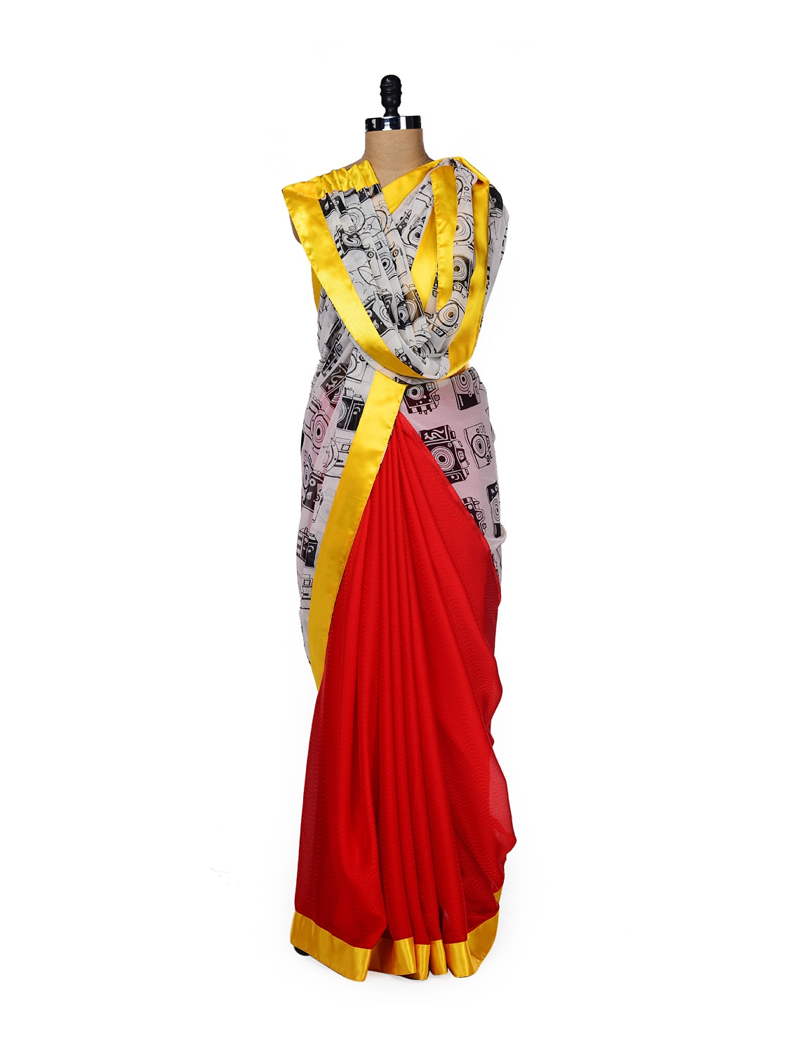 Quirky Camera Print Saree - ROOP KASHISH