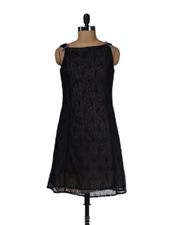 Floral Lace Black Dress - LY2