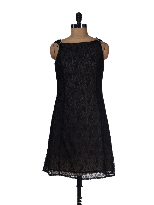Floral Lace Black Dress - LY2