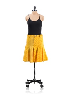 Yellow Panelled Skirt - Desiweaves