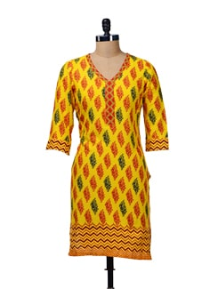 Sunshine Yellow Printed Kurta - Aurelia