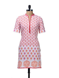 White & Orange Floral Printed Kurta - Aurelia