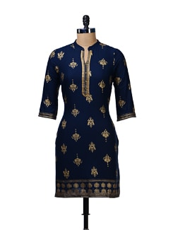 Navy-Gold Block Printed Kurta - Aurelia