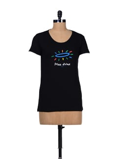 Miss Divine- Printed Black T-shirt - TANTRA