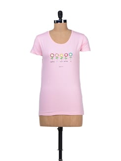 Sunflowers Print Pink T-shirt - TANTRA