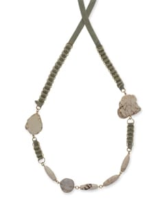 Green Taped Howlite Necklace - Ivory Tag