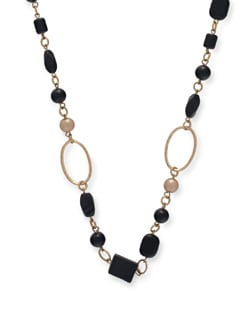 Black  Onyx Long Necklace - Ivory Tag