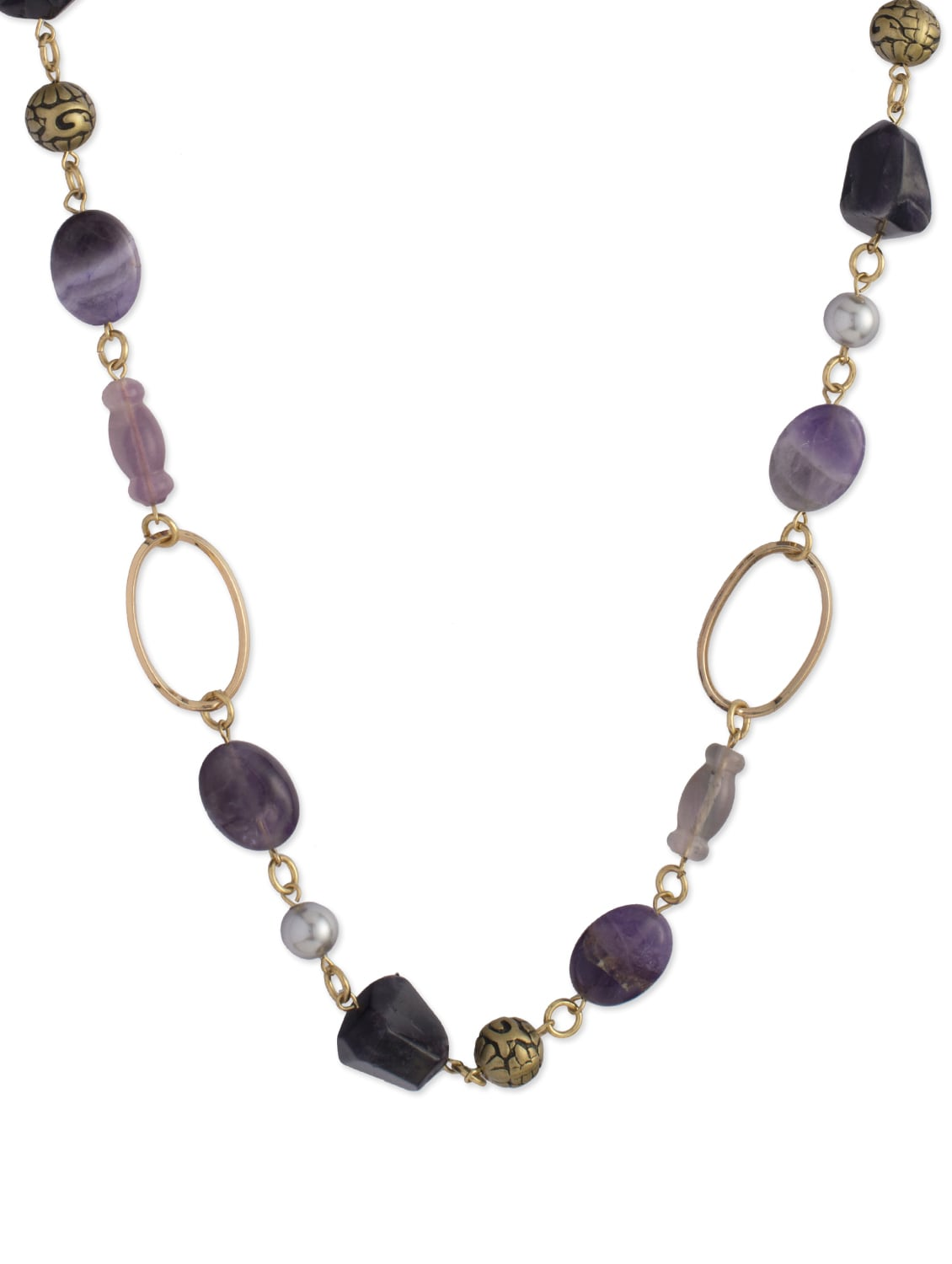 Elegant Purple & Gold Necklace - Ivory Tag