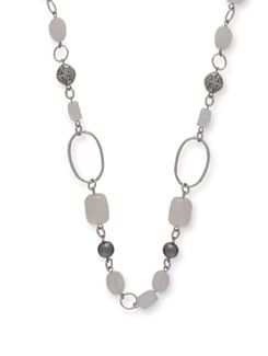 Silver & White Stone Necklace - Ivory Tag