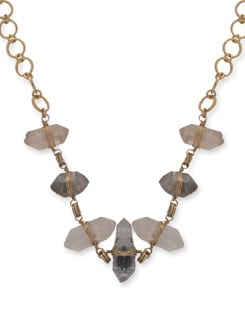 Gold Pointed Quartz Necklace - Ivory Tag