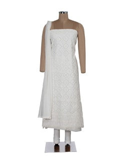 Embellished White Embroidered Suit Piece - Ada