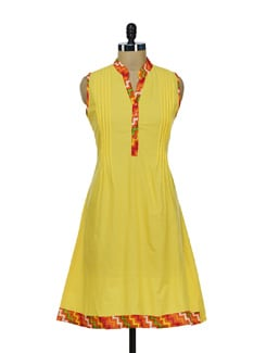 Yellow & Orange Pleated Sleeveless Kurta - Diva