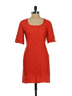 Pleated Red Shirt Style Kurti - Diva