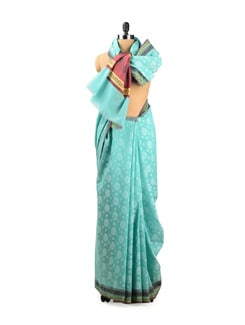 Sky Blue Benarasi Cotton Saree - Seasons By Surekha