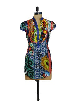 Stylish Blue Printed Kurti - Diva