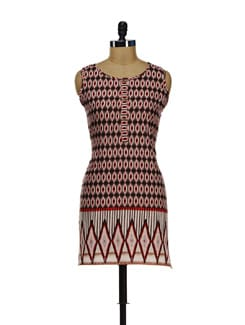 Cream & Red Printed Sleeveless Kurta - Diva