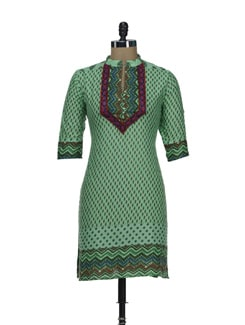 Printed Sea Green Kurta With Collar Band - SHREE