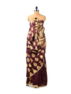 Contemporary Plum Coloured Benarasi Cotton Saree - Seasons By Surekha