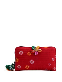 Quilted Red Bandhani Wallet - The House Of Tara