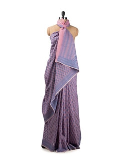 Pink And Purple Benarasi Cotton Silk Saree - Seasons By Surekha