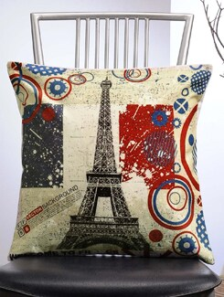 Eiffel Tower Print Cushion Cover - Veva's