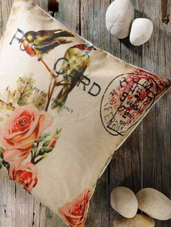 Rose And Post Card Print Cushion Cover - Veva's