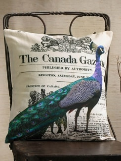 Peacock And Newspaper Print Cushion Cover - Veva's