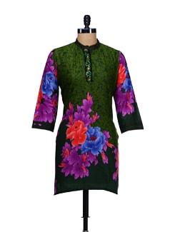 Green Floral Print Kurta - WILD WOMAN