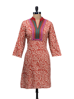 Printed Embroidered Kurta - WILD WOMAN