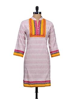Printed White Kurta - WILD WOMAN