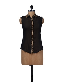 Animal Print Sleeveless Shirt - HERMOSEAR