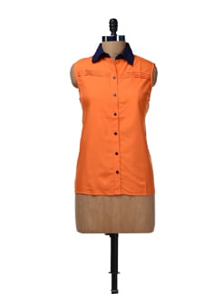 Orange Pleated Shirt - HERMOSEAR