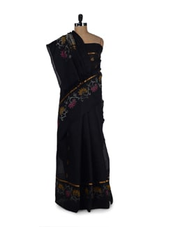 Elegant Black Saree With Kali Work - Aryaneel
