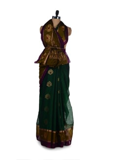 Emerald Green Saree With Floral Zari Work - Aryaneel