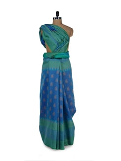 Chic Blue-Green Cotton Silk Ikat Saree - Aryaneel