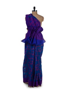 Designer Blue & Purple Silk Kota Saree - Aryaneel