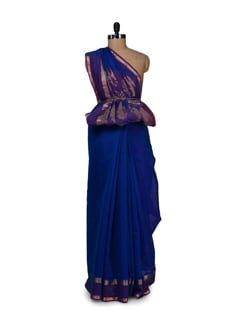 Designer Blue Cotton Silk Saree - Aryaneel