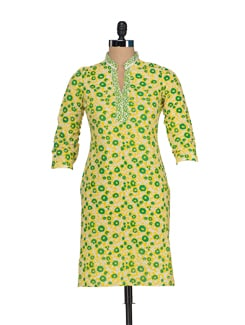 Yellow & Green Printed Casual Kurta - JUNIPER