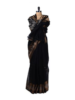 Designer Black Saree With Zari Work - Aryaneel
