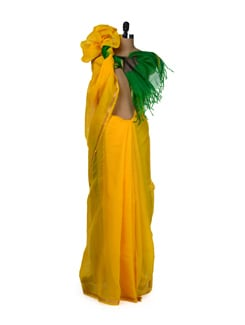 Simplistic Yellow Saree With Zari Work - Aryaneel