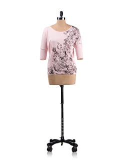 Pink Floral Print T-shirt - Allen Solly