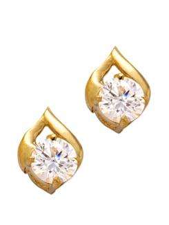 Golden White Crystal Earrings - Mahi