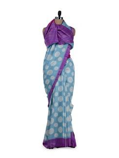 Ethnic Sky Blue Polka Saree - Sakrip