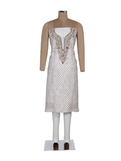 White Unstitched Kurta With Brown Thread Embroidery - Ada