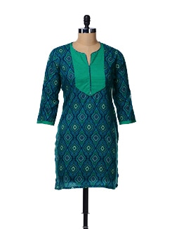 Blue Printed Kurta With Patch - AFSANA